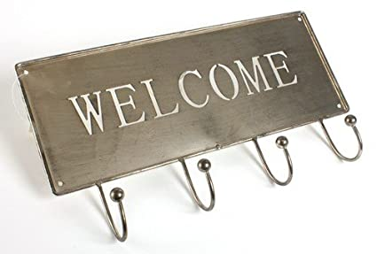 Amazon.com: Burnished Silver Metal WELCOME Sign - with 4 ...