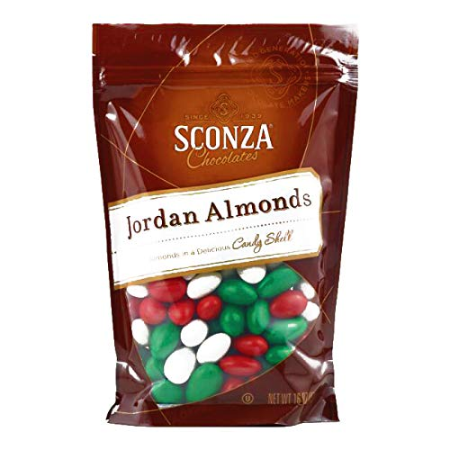 Sconza Christmas Jordan Almonds 16 oz each (1 Item Per Order, not per case)