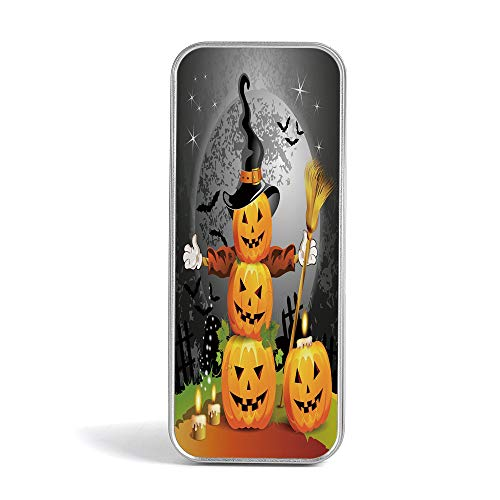 Tin Box,Halloween,Perfect Holder for Pencils and Pens,Fantastic Magic Night Spooky Atmosphere Candles Pumpkin on Wooden Planks -