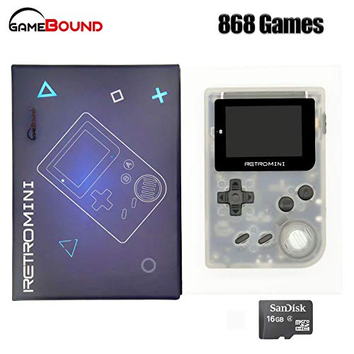 Retro Mini Handheld Video Game System (Transparent White), 16 GB Card, Gamebound Travel case, classic 1037 built in English GBA games