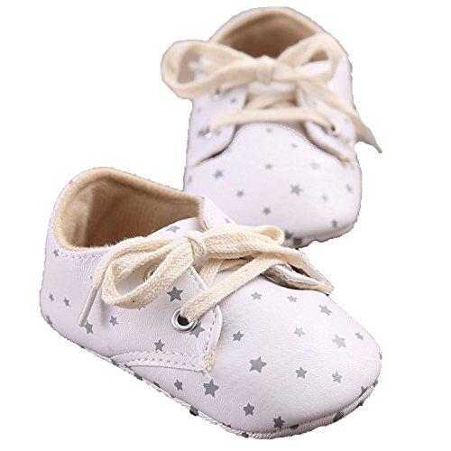 etrack-online bebé niño Niña Ocio PU Piel Mocasín Zapatos, diseño de estrellas blanco blanco Talla:12-18months blanco