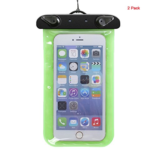 andyshi Wasserdichte Sport Arm Band Hand Tasche Touchscreen Wasserdichte Handy-Schutzhülle (2Stück) grün