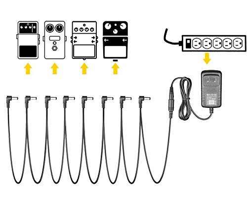 TraderPlus 9V DC 1A Pedal Power Supply Adapter with 8 Way Daisy Chain Cables Cords for Guitar Effect Pedal by TRADERPLUS