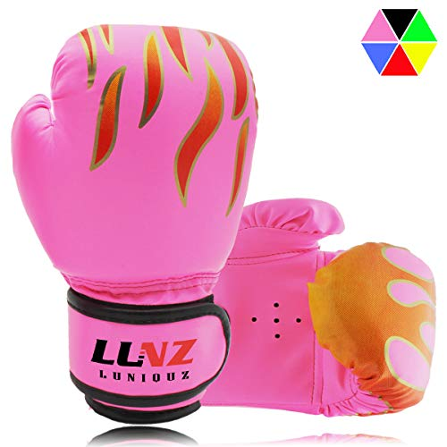 (Luniquz Kids Boxing Gloves, Child Punching Gloves for Punch Bag Training, Fit 3 to 8 Years, Pink)