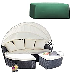 Garden Gear 160cm 3 Piece Rattan Daybed with Cover Outdoor Furniture Set with Extendable Canopy & Cushions Included (Grey)
