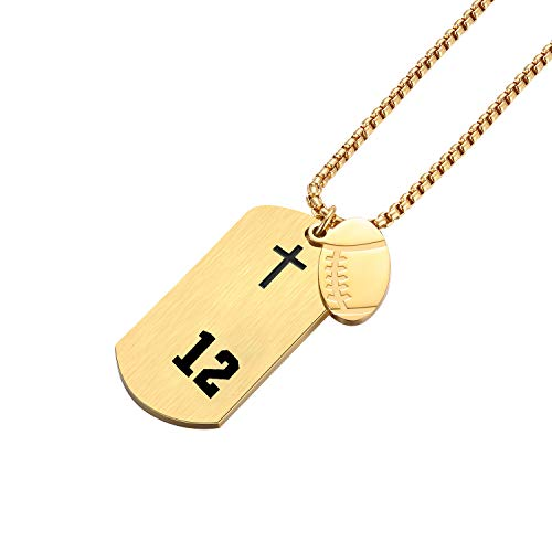 VI.SPORT Football Dog Tag Player Number 12 Necklace, Philippians 4:13 Jewelry (Gold)