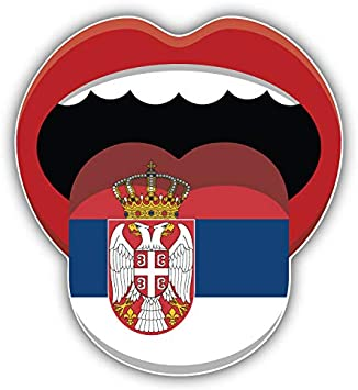 Serbia Flag Lips Car Bumper Sticker Decal 5/'/' x 4/'/'