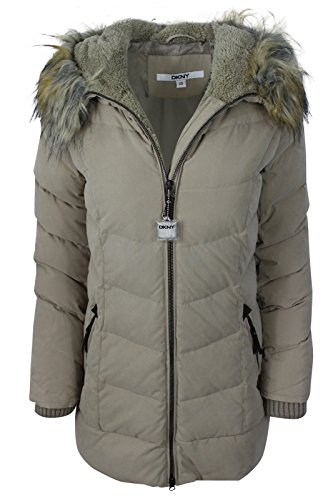 DKNY Women's Brown Faux Fur Hooded Down Insulated Jacket, - Dkny Down Coats