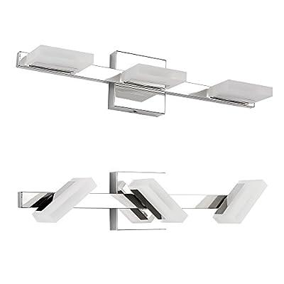 Letsun LED Vanity Light 3 Lights Bathroom Light LED Wall Light, Chrome, Frosted Acrylic, 360 Degrees Rotation, Cool White, 9W, 500LM