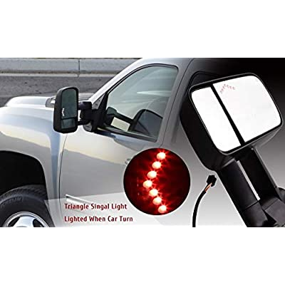MOTOOS Towing Mirrors Fit for 2007-2013 Chevy/GMC Silverado/Sierra Power Heated Telescoping Tow Mirrors with LED Signal Light Side Manual Mirrors Pair Set: Automotive
