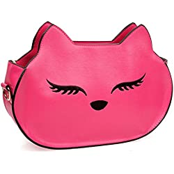 BMC Womens Hot Pink PU Faux Leather Fox Face Ears Animal Theme Fashion Clutch Shoulder Strap Handbag