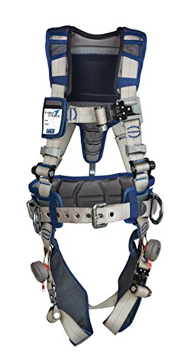 3M DBI-SALA 1112536 ExoFit STRATA, Aluminum Back/Side D-Rings, Tri-Lock Revolver QC Buckles with Sewn in Hip Pad/Belt, Medium, Blue/Gray