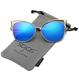 SojoS Fashion Cat Eye Style Metal Frame Women Sunglasses Lady Glasses SJ3163