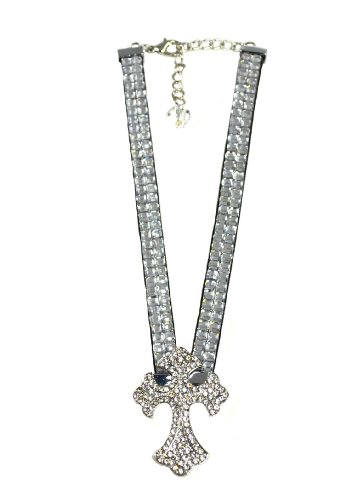 """11 """" + 3"""" Acrylic Clear Chain With Rhinestone Cross Pendant Adjustable Boot Chain SKU No:BT11-1219-01 CLEAR"""