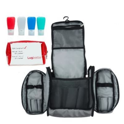 Lugbetter Hanging Travel Toiletry Bag w Removable Pouch and 4 Silicone  Bottles  TSA- 10b26be4a0003