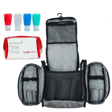 Lugbetter Hanging Travel Toiletry Bag w/Removable Pouch and 4 Silicone Bottles: TSA-Compliant Toiletry Kit – Toiletry Case + Four 3-oz Bottles + 1qt Clear Pouch – Women's and Men's (Grey) by Lugbetter