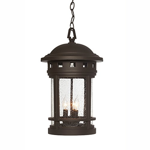 Chain Outdoor Three Light (Designers Fountain 2394-ORB Sedona Hanging Lanterns, Oil Rubbed Bronze)