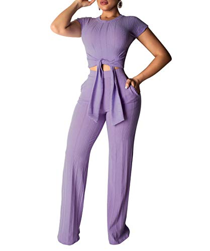 2 Pocket Crop - Remelon Womens Short Sleeve Ribbed Tie Up Crop Top Pockets Loose Long Pants Set 2 Piece Outfits Jumpsuits Purple XXL