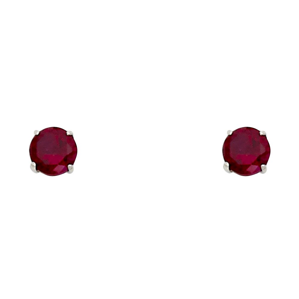 14k White Gold 4mm Round CZ Solitaire Basket Setting Stud Earrings