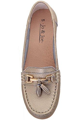 Tacco Pelle Donna Mocassini Boutique Piatte Tasselled Basso In Sapphire Gold On metallo Comode Slip Scarpe zYqHfY