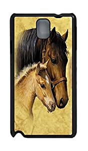 Fashion Style With Digital Art - Horse Skid PC Back Cover Case for Samsung Galaxy Note 3 N9000(Black)