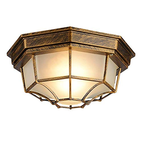 V,JUST LED Antique Hallway Balcony Ceiling Lamp European Vintage Waterproof Bathroom Ceiling Lamp Industrial Style Rustic Ceiling Lighting, Rust Color, Warm White Light 3000K, 27cm