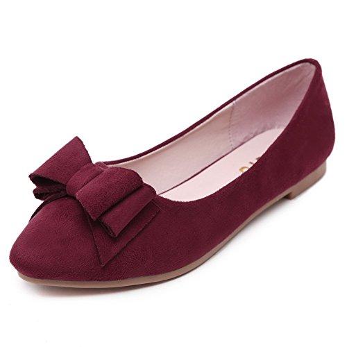 AgooLar Damen Ziehen Auf Schließen Zehe kunstleder Flache Schuhe Rot+Fliege