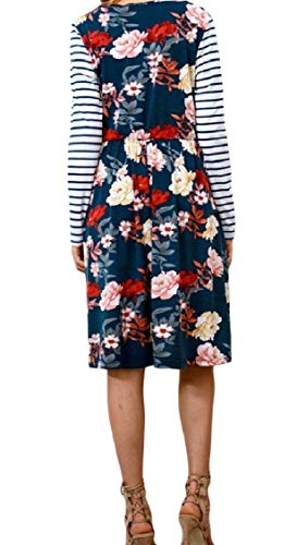 Floral Women Striped Weekend Mid Splice Sleeve Pattern1 Dress Long Coolred Pocketed TZO5nqW