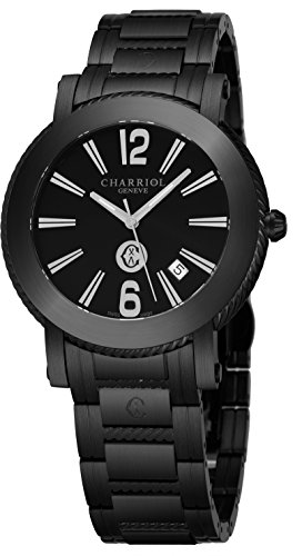 Charriol Parisii Mens Black Stainless Steel Watch - 42mm Analog Black Face with Second Hand, Date and Sapphire Crystal All Black Watch - Metal Band Swiss Made Quartz Watches for Men P42BM.P42BM.011