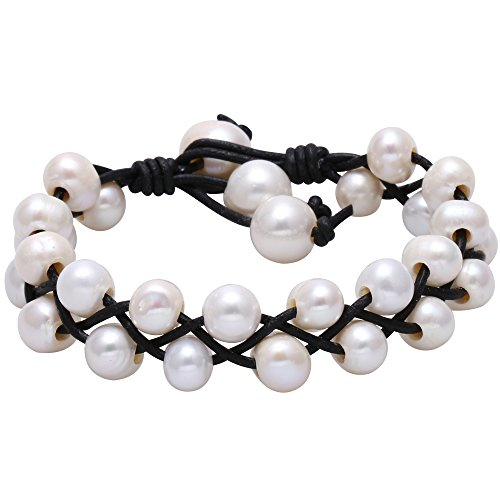 Cultured Freswhater Pearl Bracelet White Beads on Black Leather Cord Bangle Handmade Adjustable Jewelry for Women Girls Dainty Braided Wrap Bracelet for Christmas