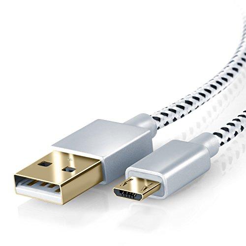 CSL - 2m Premium Micro USB auf USB Kabel mit Metallstecker + Nylonmantel / besonders strapazierfähig | flexibles Lade- und Datenkabel mit vergoldeten Kontakten für Android, Samsung, HTC, Motorola, Nokia, LG, HP, Sony, Blackberry und mehr