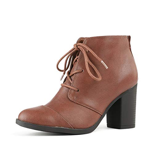 TOETOS Women's Chicago-05 Brown Pu Leather Chunky Heel Ankle Boots Size 7.5 M US