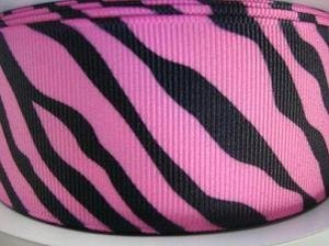 25 yards Roll/Spool Grosgrain Ribbon 1.5 inches- Pink/Black Zebra Stripes (R110-Pink) US SELLER SHIP FAST