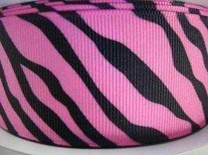 25 yards Roll/Spool Grosgrain Ribbon 1.5 inches- Pink/Black Zebra Stripes (R110-Pink) US SELLER SHIP FAST