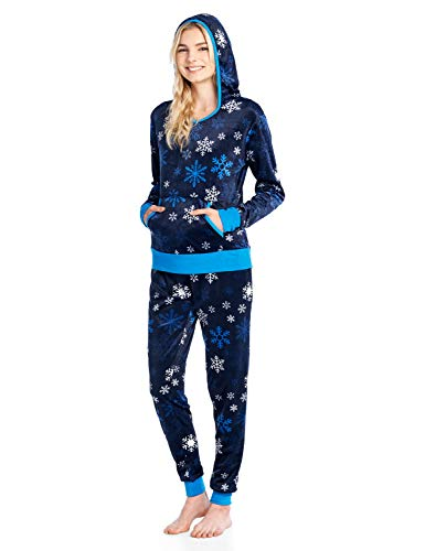 Ashford & Brooks Women's Mink Fleece Hoodie Pajama Set - Navy Frozen Snowflake - Large
