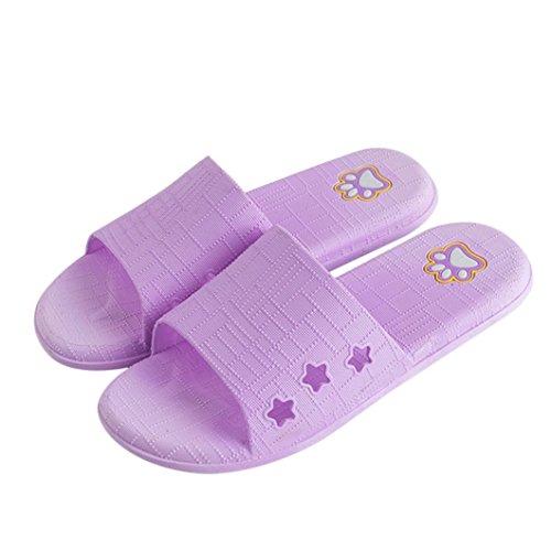 Pantoufles Dérapant Femmes Anti Sandales d'extérieur Violet Homme de Pantoufles d'été Sandales étage Pantoufles Amuster Et Lattice Femmes Glisser Bain d'intérieur Plat Et 65FnxTqa