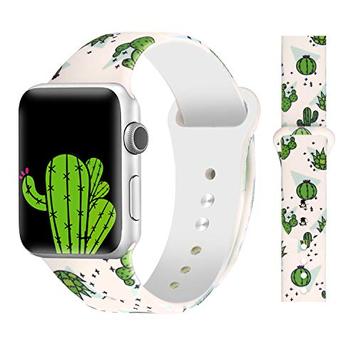 Bertiveny Floral Band Compatible with Apple Watch 40mm 38mm 44mm 42mm Soft Silicone Sport Bands for Iwatch Series 4 3 2 1 (Cute Cactus, 38MM/40MM-S/M) (Cactus Band)