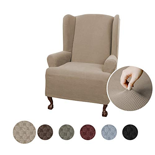 (Maytex Pixel Ultra Soft Stretch Wing Back Arm Chair Furniture Cover Slipcover, Sand)