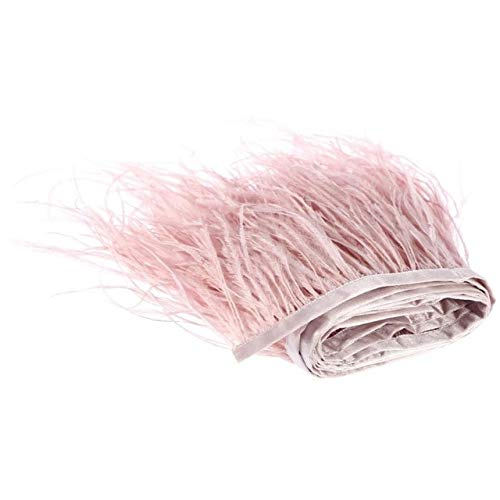 Maslin Price of 1 Meter Purple Color Dyed Ostrich Feather Fringes Trim Trimming on Satin Ribbon 8-10cm 10-15cm can be choosed - (Color: Leather Pink, Size: 8-10CM 1M)