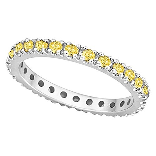Fancy Yellow Canary Diamond Eternity Ring Band Palladium (Palladium Yellow Ring)