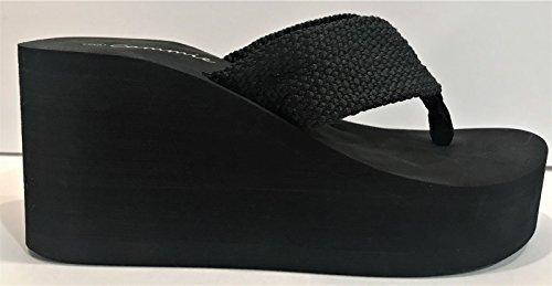 Cammie L-2155hh Donna Zeppa Alta Piattaforma Scivoli Infradito Sandalo Open Toe Nero Nero