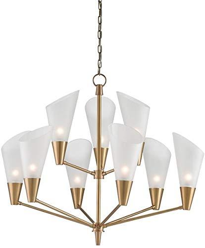 Currey & Company Chandelier Cornet 9-Light Opaque Satin Brass Gold C