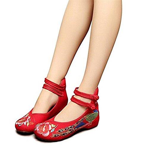 Minetom Vintage Estilo Chino Pintura de Tinta de Plataforma Mary Jane Merceditas de Mujer Flores Bordado Cómodo Casual Zapatos de Party Dress Rojo