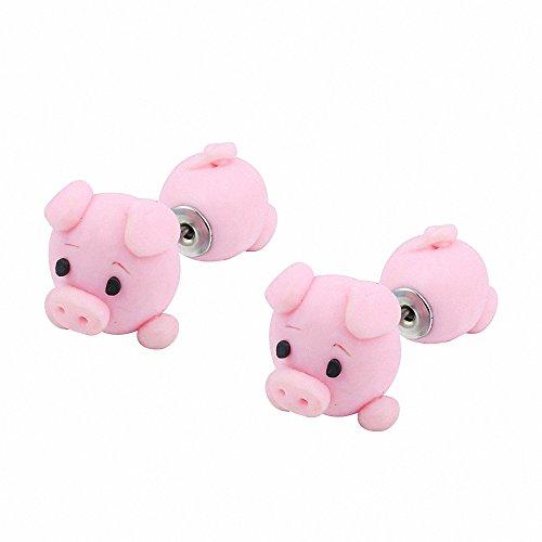 New Handmade Mario Piranha Plant Cute Animal Earring Stud Earrings for Women (Pink Pig)