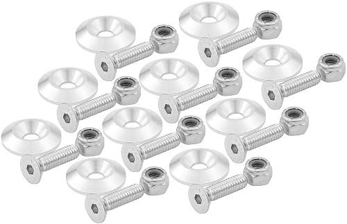 Set of 10 Allstar Performance ALL18633 Black 1//4 x 1 Countersunk Bolt Kit with 1 OD Washer,