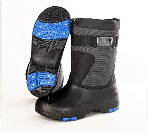 人工皮革の冬の防水アウトドアシューズ男性レースアップのための雪のブーツは、暖かいフェイクファーショートノンスリップ快適なブーティーを裏地 (色 : 黒, サイズ : 26 CM)