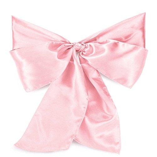 Lann's Linens - 10 Elegant Satin Wedding/Party Chair Cover Sashes/Bows - Ribbon Tie Back Sash - Pink