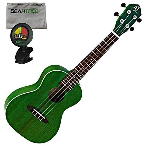 - Ortega Guitars RUFOREST Earth Series Concert Ukulele (Transparent Forest Green O