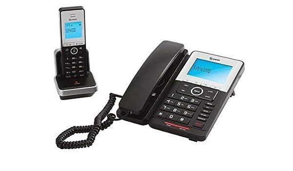 Steren - Base con cable y sistema de teléfono inalámbrico: Amazon.es: Electrónica