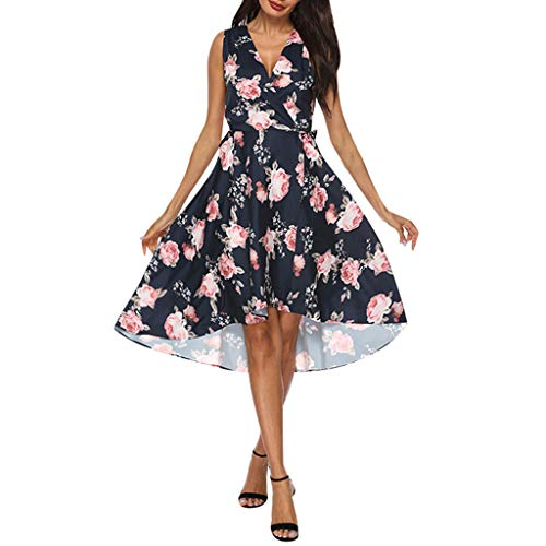 Opinionated Women's Floral Printed Dress, A Line Sleeveless V-Neck Elegant Dress with Pockets Cocktail Party Dress Black